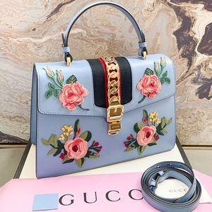 Gucci Medium Sylvie Embroidered Top Handle Bag